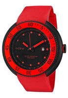 Red Line Men's Driver Black Dial Black IP Case Red Silicone