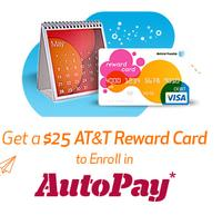 Free $25 AT&T reward card w/sign up for autopay