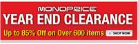 Up to 85% off  @ Monoprice Clearance Sale