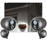 2-Pack: Mr. Beams Wireless Long Range Motion-Sensing LED Weatherproof Spotlights w/ Wire Free Easy Mount Kit!