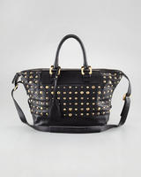 $402  Diane von Furstenberg Drew Studded East-West Satchel Bag