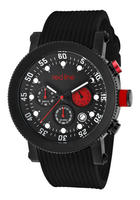 Red Line Men's Compressor Chronograph Black Dial Black IP Case Black Silicone