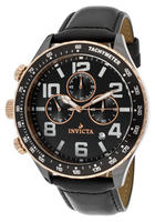 $76.4 Invicta Men's Ceramics Chronograph Black Dial Black Genuine Leather
