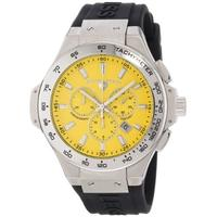 $69.99 Swiss Legend Men's 40051-07-R Maverick Chronograph Yellow Dial Black Silicone Watch
