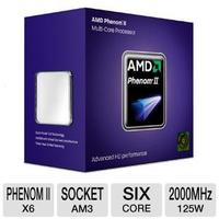 $89.99 AMD Phenom II X6 1055T Processor  2000 Bus Speed, 3072 L2 Cache, Socket AM3, 125W