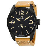 $149.99 Brooklyn Watch Company Lafayette Black Dial Tan Leather Swiss Quartz Mens Watch