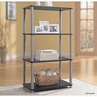 $17.99 Essential Home  4 Shelf Bookcase Black with Silver
