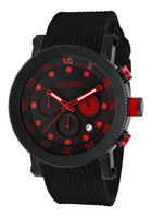 $69.99 Red Line Men's Compressor Chronograph Black Dial w/Red Accents Black Silicone