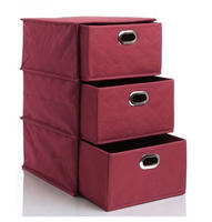 $9.99 Nonwoven 3-Layer Drawer Storage Box-Burgundy