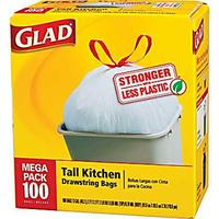 $9.99 100 Glad 13-Gallon Tall Kitchen Trash Bags