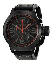 TW Steel Canteen Black Dial Chronograph Black Leather Mens Watch TW902R