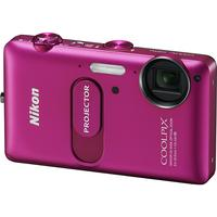 NIKON - Coolpix S1200pj Pink 14.1-Megapixel Zoom Digital Camera with Built-In Projector - Pink