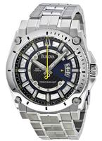 Bulova Precisionist Quartz Champlain Blue Stainless Mens Watch 96B131
