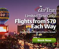 From $70 each way AirTran Airways Domestic flight sale