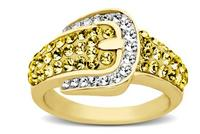 Buckle Ring with Golden and White Swarovski Crystal in 18K Gold over Sterling Silver