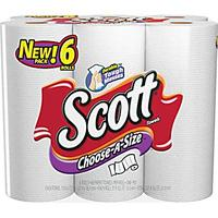 $3.99 Scott Choose-A-Size Paper Towels, 1-Ply, 6 Rolls/Pack