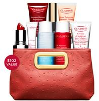 Free 8 Piece Gift + Deluxe Red Clutch with $60 Purchase @ Clarins