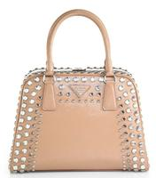 $2590 Prada Saffiano Vernice Embellished Frame Pyramid Top-Handle Bag