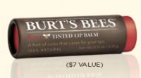 Free Tinted Lip Balm ($7 Value) with any purchase @ Burt's Bees