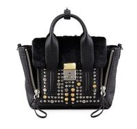 $750 3.1 Phillip Lim Pashli Mini Studded Leather & Fur Satchel Bag