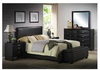 $199 Ireland King Faux Leather Bed