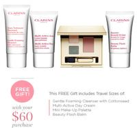 Free 4pc Gift with orders over $60 @ Clarins