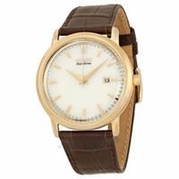 $117 Citizen Eco-Drive Champagne Dial Brown Leather Strap Mens Watch BM7193.07B
