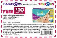 Free $10 Gift Card any Pampers value box of diapers @ BabiesRUs (In Store Only)