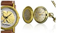 $16.99 August Steiner Men's and Women's Coin Collection Watch