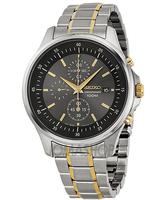 $77 Seiko Chronograph Gray Dial Two-tone Stainless Steel Mens Watch SNDE25