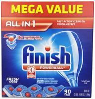 $10.41 Finish Powerball Tabs Dishwasher Detergent, Fresh Scent, 90 Count