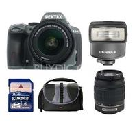 $594.95 Pentax K-50 Digital SLR Camera Zoom Kit with 18-55 and 50-200 WR Lenses + AF200 Flash