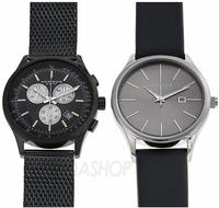 Akribos Men's Black Dial Two-Watch Set