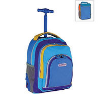 "$51.2 2 X J World 16"" Kid's Sparkling Wheel Rolling Backpack with Lunch Bag in Neon Blue"