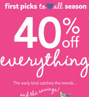 40% off Everything+ 20% off $40  @ Carter's