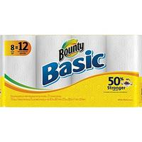 $6.99 Bounty Basic Paper Towel Rolls, 8 Giant Rolls/Pack