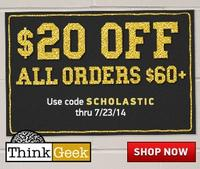 $20 Off $60 ThinkGeek Back to School Sale