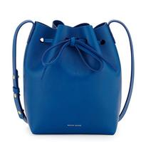 $610  Mansur Gavriel	Mini Coated Leather Bucket Bag, Royal