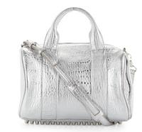 $597 Alexander Wang Rocco Stud-Bottom Satchel Bag, Silver