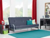 "$89.00 Mainstays Metal Arm Futon with 6"" Mattress, Gray"