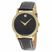 $220.00 Movado Museum Black Dial Black Leather Men's Watch 2100005