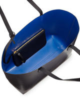 $525  Preorder of Mansur Gavriel	Large Leather Tote Bag with Coated Interior, Black/Royal