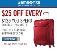 $25 Off Every $125 Spend on Select Products @ Samsonite