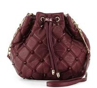 $48.00 Deux Lux Empress Stud Quilted Faux-Leather Bucket Bag, Berry