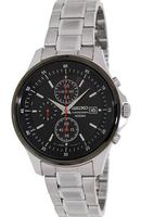 $64.99 Seiko SNDE27 Black Dial Chronograph Stainless Steel Mens Watch