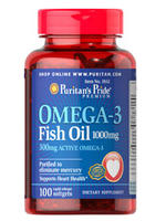 3 For $9.99 Puritans Pride Omega-3 Fish Oil 1000 mg 100 Soft Gels