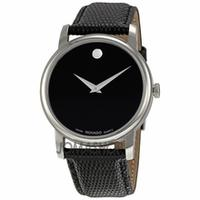 $179.00 Movado Museum Black Dial Black Leather Strap Mens Watch 2100002 @ JomaShop.com