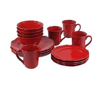 $19.88 Better Homes and Gardens Simply Fluted 16-Piece Dinnerware Set, Red Garnet