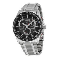 $249.99 Citizen Eco Drive Black Dial Chronograph Stainless Steel Mens Watch AT4008-51E