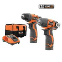 $99 RIDGID 12-Volt Hyper Lithium-Ion Drill/Driver and Impact Driver Combo Kit @ Home Depot